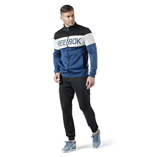 Reebok Herren Ts Cuffed Tracksuit Trainingsanzug, schwarz/bunblu, XL