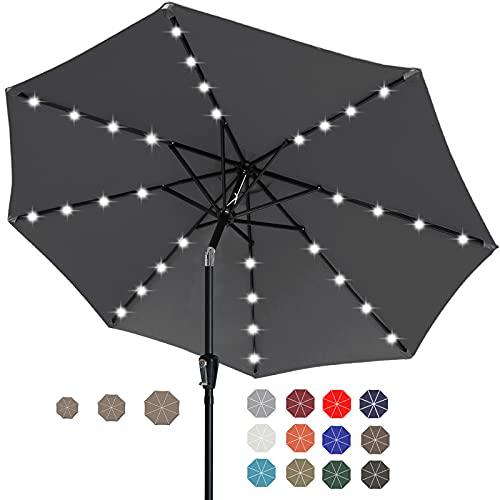 ABCCANOPY 9FT Patio Umbrella Ourdoor Solar Umbrella LED Umbrellas with...