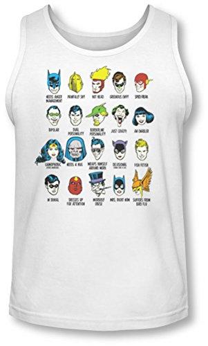 Dc - Questions Superhero Tank-Top pour hommes, XX-Large, White