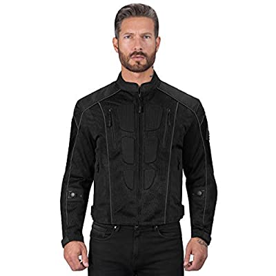 Viking Cycle Textile Warlock Mesh Motorcycle Jacket for Men – Removable Armor, Summer Riding Gear (Black, Large)
