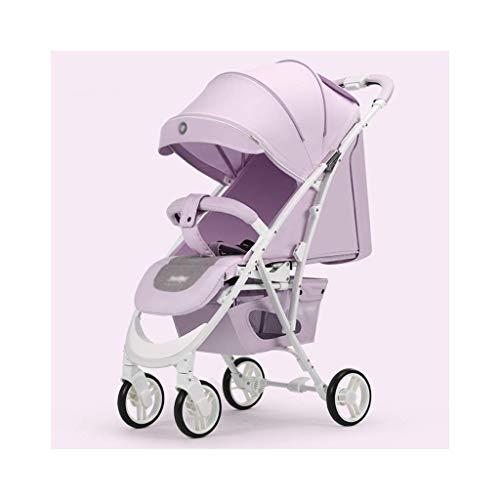Muñecas cochecito cochecito de cochecito, carro con ángulo de altura de asiento ajustable y absorción de choque de cuatro ruedas, altos paisajes y cochecito de bebé PRAM (color: púrpura) fengong