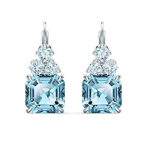 Swarovski Sparkling Ohrringe, Rhodinierte Ohrhänger mit Weißen und Türkisfarbenen Swarovski Kristallen
