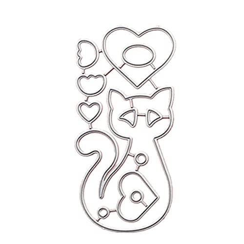 blueship Molde de corte de cuchillo de grabado DIY patrón de gatos de acero al carbono DIY plantilla de artesanía para scrapbook plata