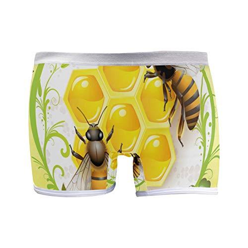 colormu Boxer Briefs Unterwäsche für Frauen Boyshort Höschen Weiche Bienen Waben Kamille