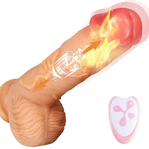 Realistischer Dildo mit 7 Vibrationsmodi, Treediride G-Punkt Vibratoren mit Teleskopisch, Silikon Stimulator Sexspielzeug mit Fernbedienung, Heizbar und Aufladbar für Sie Paare Frauen