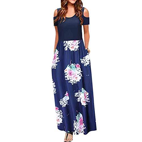 Zegeey Damen Kleid Sommer Kurzarm Schulterfrei Einfarbig Blumenkleid Maxi Kleid A-Linie Kleider Vintage Elegant LäSsige Kleidung Rundhals Basic Casual Strandkleider (D-Blau,XL