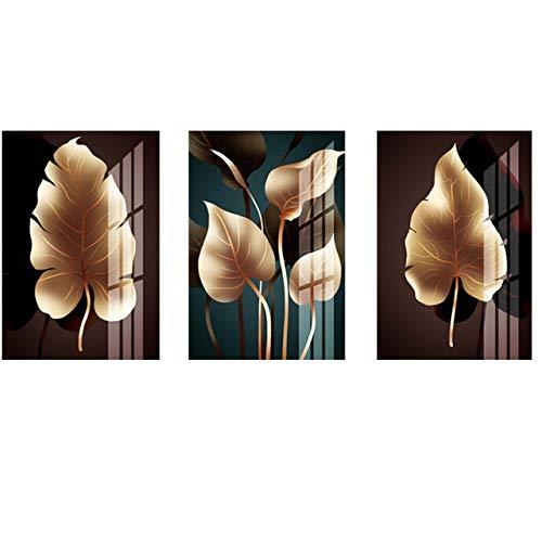 Nordic Plant Golden Leaf Canvas Painting Posters and Print Art Pasillo Sala de estar Dormitorio Decoración 30X40CM