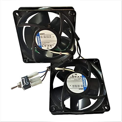 ebmpapst - Pack con dos VENTILADORES 4656 N 12 x 12, 19W + placa + cableado + interruptor, para las chimeneas de leña