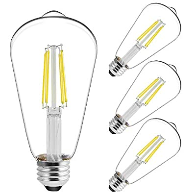LED Edison Filament Decor Light Bulbs, Amber White 2200K, Dimmable, 4 Watts(40W Equivalent), 300 Lumen, E26 Base, UL Listed, 6-Pack
