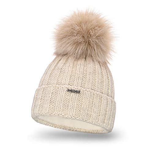 PaMaMi Damen Thermo Wintermütze | warme Strickmütze mit Bommel | Gestrickte weiche Bommelmütze | Slouch Beanie Hergestellt in EU | Farbenauswahl 18574 (Beige)