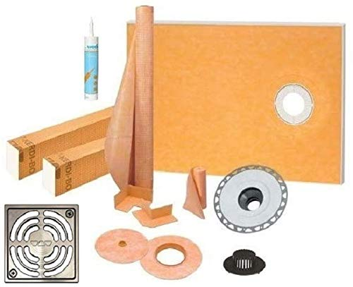 """Schluter Kerdi Shower Kit 38"""" x 60"""" Offset Shower Tray (KST965/1525S) with 2"""" PVC Bonding Flange, Strainer, Joint Sealant and 4"""" Brushed Nickel Grate"""