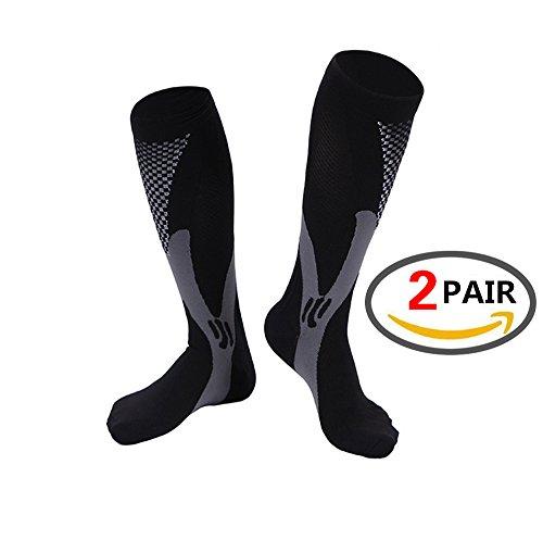 (2 PAARE)Kalb-Kompressionshülse für Männer&Frauen,beste fußlose Socken für Läufer Kälber&Beinkrämpfe,Schienbeinschienen Zirkulation Abhilfe, Stützstrümpfe, Laufausrüstung Basketball Lycra Strumpfhose
