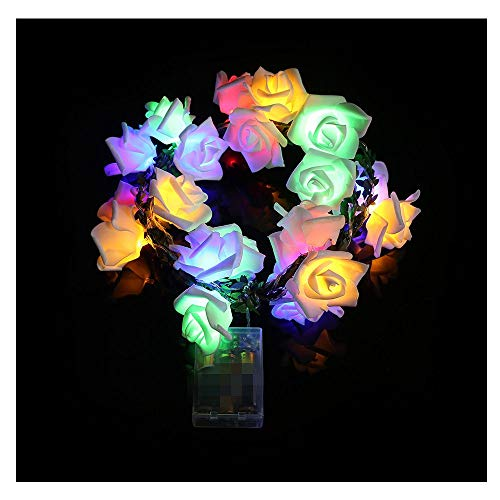 Multicolour Rose String Lights, 20 Led Cell Box Garden Party Rattan Multicolor Rose Lantern Skewers, Christmas Decorative Lights for Room Party Wedding, Battery Operated (Multicolor)