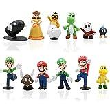 12pcs / Set Super Mario Toys - Figuras de Mario y Luigi Figuras de acción de Yoshi y Mario Bros Figuras de Juguete de PVC de Mario