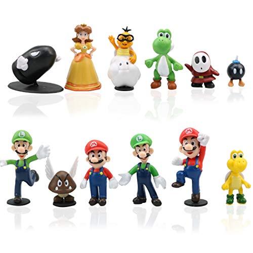 Miotlsy 12pcs / Set Super Mario Toys - Figuras de Mario y Luigi Figuras de acción de Yoshi y Mario Bros Figuras de Juguete de PVC de Mario