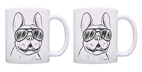 French Bulldog Mug Set Frenchie Sunglasses Dog Themed Gifts 2 Pack Gift Coffee Mugs Tea Cups White
