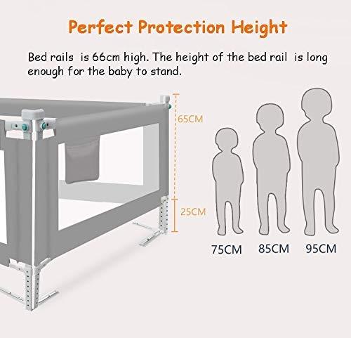 XZ Barandillas de cama anticaída azul/gris/rosa para niñas niños, cuna convertible/cama individual/doble/queen/king,Rosado,120 cm / 47 pulgadas