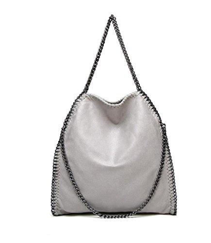 Damen PU lässigen Angleliu Kette Handtasche Modisch Schultertaschen Glitzer Beuteltasche (Grau)