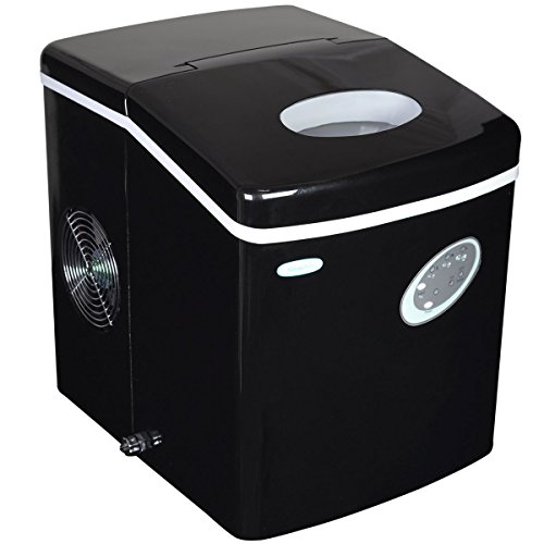 NewAir Portable Ice Maker 28 lb. Daily, Countertop Compact Design, 3 Size Bullet Shaped Ice, AI-100BK, Black