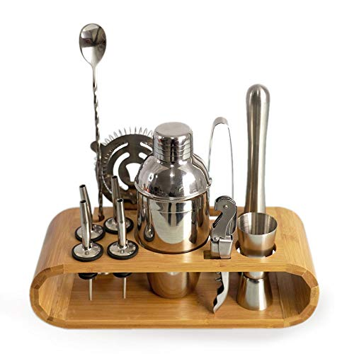 Tsmsv Cocktail Shaker Set Bartender Kit, Bar Set with Bamboo Stand 12 Piece Bartending Tools with Martini Shaker For an Awesome Drink Mixing