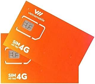 お得な2枚セット Vietnamobile ベトナムプリペイドSIM 4G・3G 30日利用 データ容量120GB
