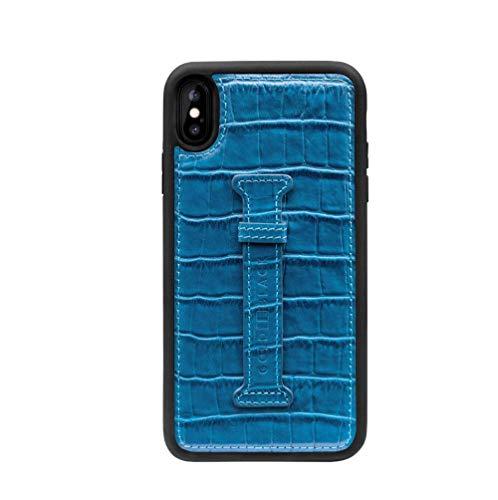 Funda de piel para iPhone XS Max con pestaña para el dedo, diseño de piel de cocodrilo, color azul