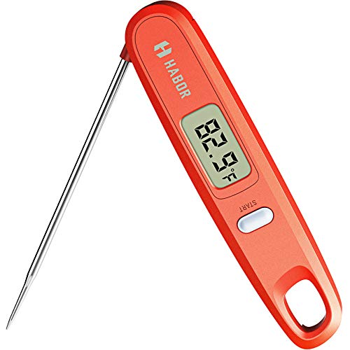 Habor Digital Kitchen Thermometer Instant Read Sensor with Foldable Probe for Food Baking Liquid Meat BBQ Grill Smokers, Standard, Chipotle