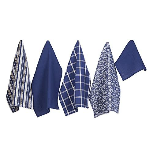 DII Assorted Pattern Kitchen Dishtowels and Dishcloth, 18x28' & 13x13', Nautical Blue, 5 Piece