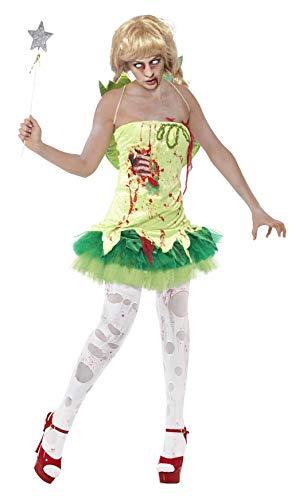 Smiffys, dames zombie-fee kostuum, jurk met latex borstdeel en vleugel, maat: M, 40060