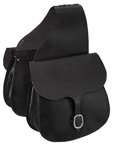 Tough 1 Leather Saddle Bag, Black