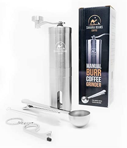 Sahara Beans Manual Coffee Grinder Conical Burr Grinder Brushed Stainless Steel Whole Bean Burr product image