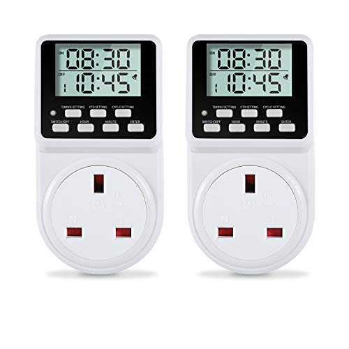 ORIDGET 24 Hour Digital Electric Timer Plug Socket with Countdown and...