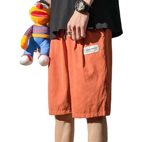 Pantalones Cortos de Color sólido a la Moda para Hombre, Tendencia de Verano, Pantalones Cortos Deportivos Informales Holgados y cómodos con cordón, Cintura elástica 4XL