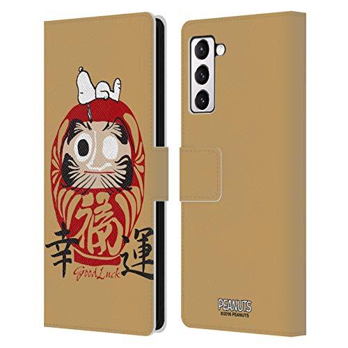 Head Case Designs Licenza Ufficiale Peanuts Buona Fortuna Snoopy Orientale Cover in Pelle a Portafoglio Compatibile con Samsung Galaxy S21+ 5G