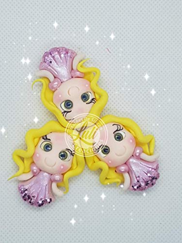 Princesas 3 Apliques, Miniaturas para lazos y adornos en porcelana fria