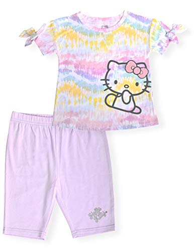 Hello Kitty Girls 2- Piece Fashion Tee Shirt and Active Bike Short Set with Top and Fashion Tight Shorts Summer Clothes for Little Girls (Lavender Tie Dye, 4T)