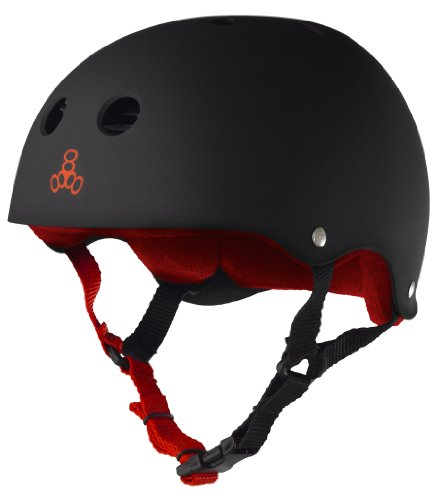 Triple Eight Sweatsaver Liner Skateboarding Helmet, Black Rubber w/ Red, XX-Large