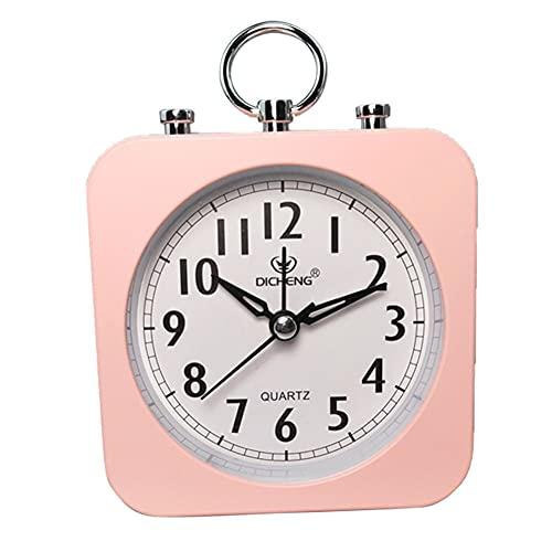 Blan Reloj despertador de 7,6 cm, funciona con pilas, estilo sencillo y moderno, sin sonido de tic-tac, silencioso, pequeño reloj de escritorio