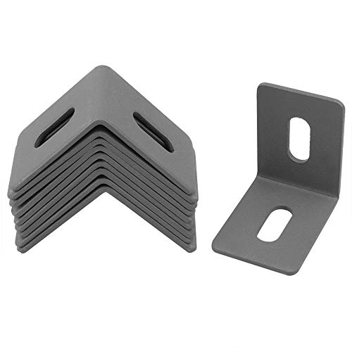10 Pack Adjustable Corner Braces, 2⅛ × 2⅛ × 1½ inches Iron L Shape Right Angle Brackets, 2.8mm Thickness, Max.Load 110 lb, 2 Adjustable Mounting Hole (Gray)
