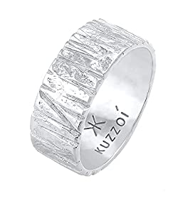 Kuzzoi Herrenring im kunstvoll Strukturiertem Design, Bandring massiv (9 mm) breit in 925 Sterling Silber, Silberring gehämmert, Ring für Männer, Bikerring, Ringgröße 66, 0604922121_66