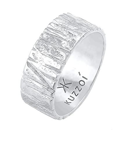 Kuzzoi Anillo para hombre con diseño estructurado artísticamente (9 mm) de ancho en plata de ley 925, anillo de motero, talla 60-66, 0604922121, Plata de ley 925,