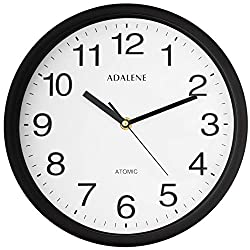 Adalene 10 Inch Large Atomic Wall Clock Analog Display - Vintage Black Wall Clock Atomic Movement - Battery Operated Modern Wall Clock for Office, School Classroom, Kitchen, Bedroom, Bathroom, Outdoor
