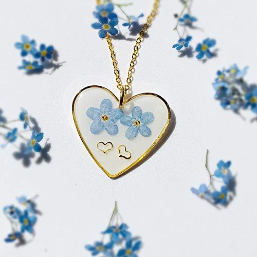 Tess – Herz Vergissmeinnicht Halskette | Echte Blüten | Freundschaftskette | Natur Harzschmuck | Einzigartiges Geschenk für sie | 06ET