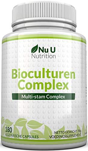 Bioculturen 180 Capsules (Voorraad voor Zes Maanden), Vegetarische Multi Stam, Hoge Kracht Culturen Inclusief Lactobacillus Acidophilus & Bifidobacterium, Capsules (geen Tabletten) van Nu U Nutrition