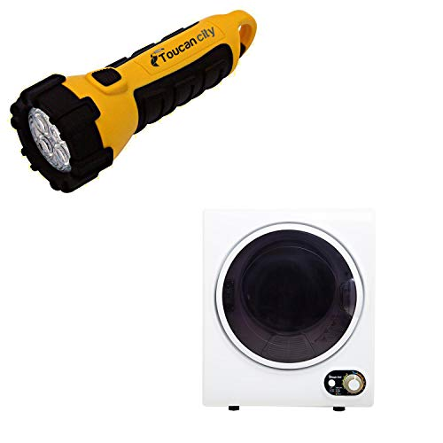 Toucan City LED Flashlight and Magic Chef Compact 1.5 cu. ft. Electric Dryer in White MCSDRY15W