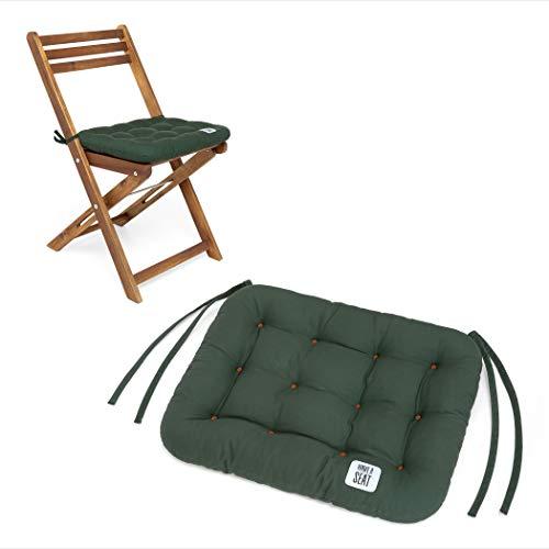 HAVE A SEAT Luxury - Sitzkissen 40x35 cm - Bequeme Sitzpolster für Klappstühle, Balkonstühle, Balkon-Set - waschbar bis 95° C, UV-Schutz - Made in Germany (2er Set - 40x35 cm, Moosgrün)