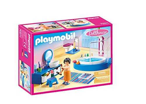 PLAYMOBIL PLAYMOBIL-70211 Dollhouse Baño, Multicolor, Talla