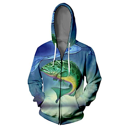 3D-Zipper Tiefsee-Fische Hoodie Harajuku Jacke lose T-Shirt Q1433 M