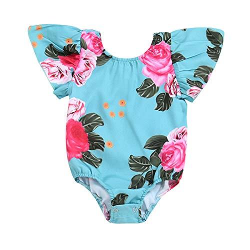 Puseky Pasgeboren Baby Meisje Bloem Leuke Romper Bodysuit Jumpsuit Zonnepak Kleding (Blauw, 6M-12M)