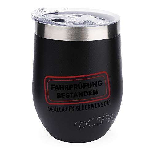 Fahrprfung Bestanden Herzlichen Glckwunsch Vaso de vino aislado de 354 ml, vaso de vino sin tallo, doble pared al vacío, taza de viaje de acero inoxidable con tapa